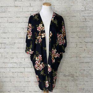 Maurices   Black Floral Kimono